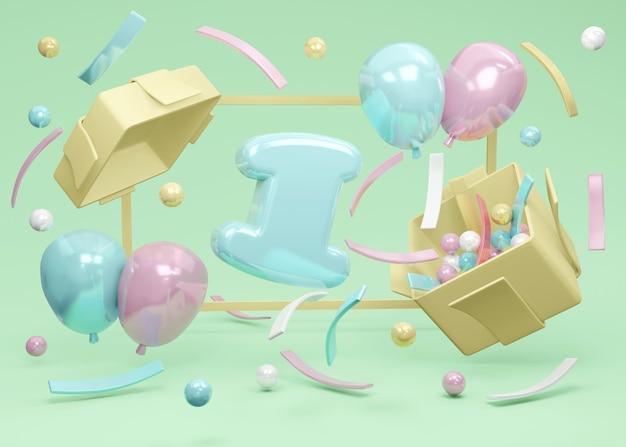 3d-rendering nummer 1 geburtstag explodiert aus geschenkbox mit ballon und konfetti auf grünem hintergrund