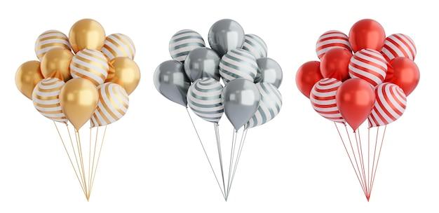3d-rendering-objekt. dreifarbiger goldgrauer und roter ballonsatz lokalisiert auf weißem hintergrund. beschneidungspfad-bild.
