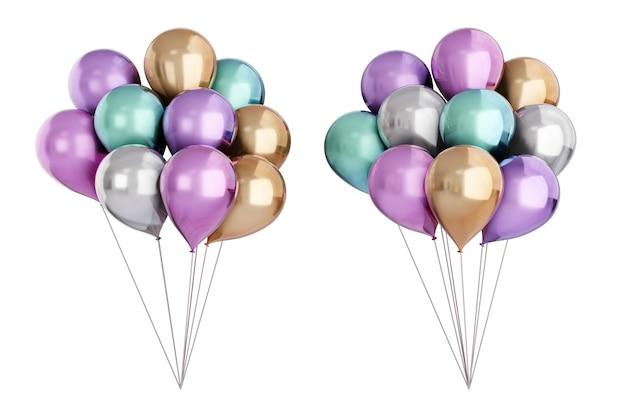3d-rendering-objekt. zwei metallische farbe goldgrau lila und blau ballon-set isoliert auf weißem hintergrund. beschneidungspfad-bild.