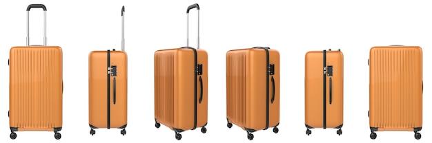 3d-rendering orange koffergepäck isoliert auf weiß