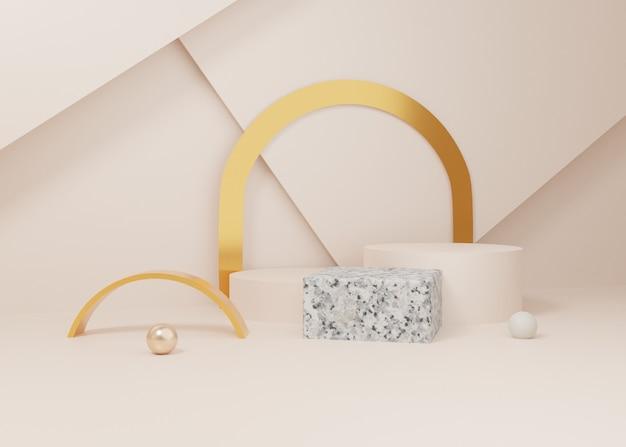 3d-rendering pastell gold marmor display podium produkt stehen auf hintergrund. abstrakte minimale geometrie. premium-bild