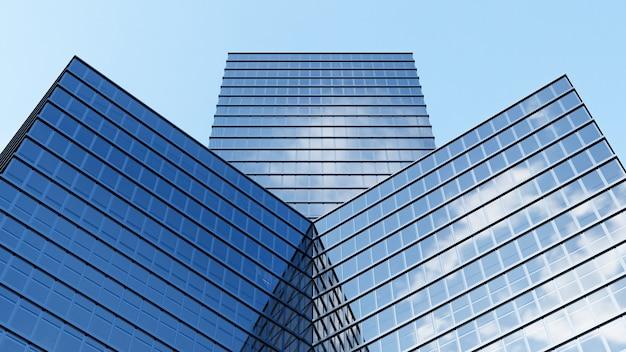 3d-rendering. perspektive ist der wolkenkratzer zum himmel gerichtet. blauer farbverlauf, gebäudeentwurf