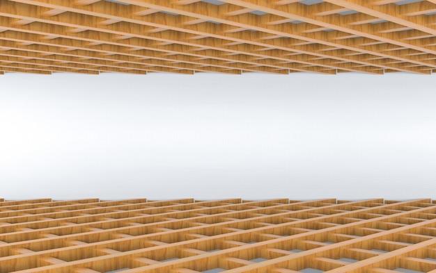 3d-rendering. perspektivische ansicht der holzplatte im quadratischen musterdesignboden und im deckenhintergrund.