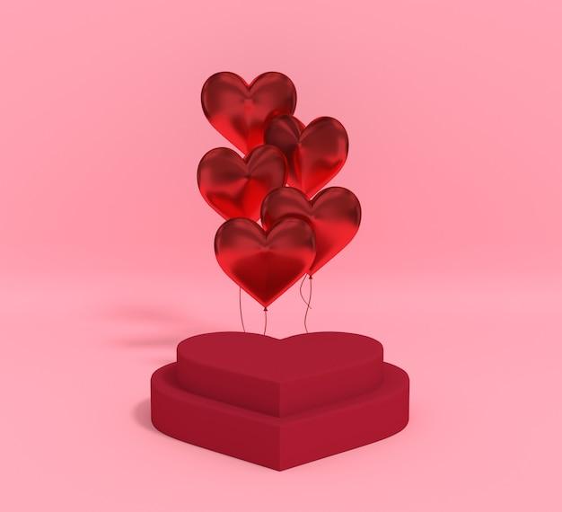 3d-rendering-podium für den valentinstag des produkts mit ballon. premium foto