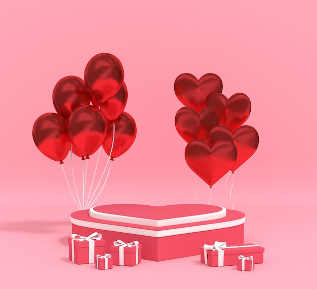 3d-rendering-podium für produkt-valentinstag mit ballon-geschenkbox. premium foto