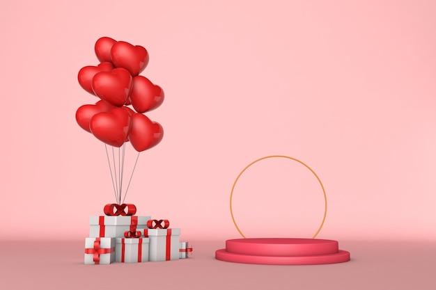 3d-rendering-podium für produktplatzierung am valentinstag mit dekorationen