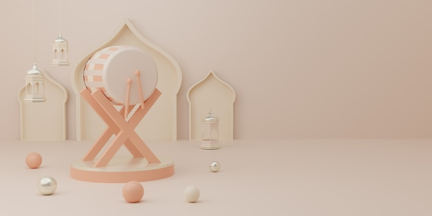 3d-rendering-podiumanzeige des produkt-eid-mubarak-verkaufskonzepts