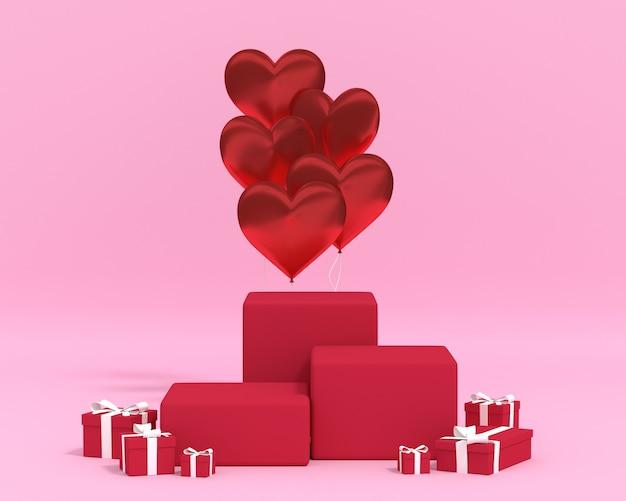 3d-rendering-podiumbox mit ballon-geschenkbox. premium foto