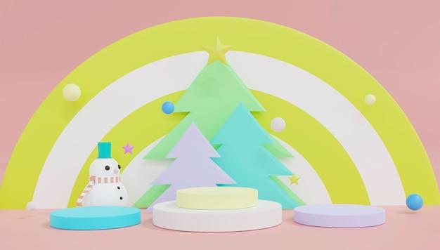 3d-rendering-podiumsthema frohe weihnachten und ein gutes neues jahr.