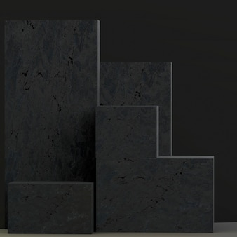 3d-rendering-produktständer aus blöcken mit steinstruktur