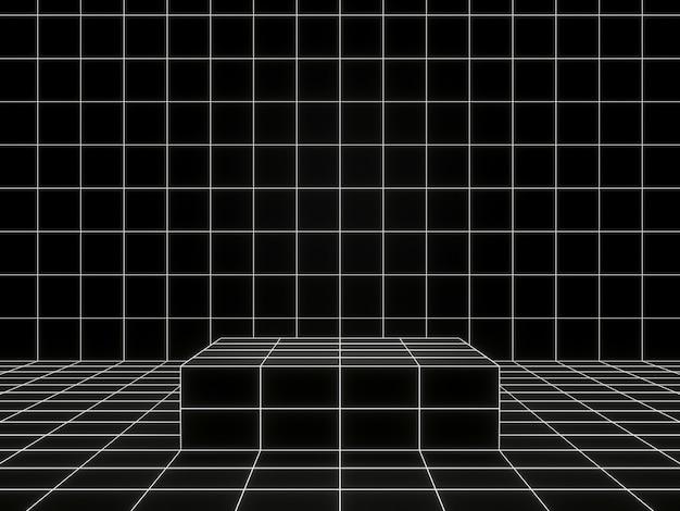 3d-rendering. produktständer mit geometrischem schwarzweiss-gitter.