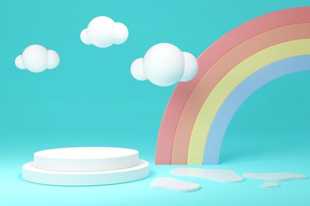 3d-rendering-produktstand-podium-display mit regenbogenwolken im hintergrund für kommerzielles design