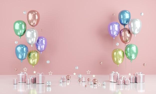 3d-rendering realistische bunte luftballons mit leerem papierkopierraum für text und geschenk im hintergrund