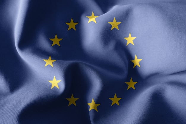 3d-rendering realistische wehende seidenflagge der europäischen union