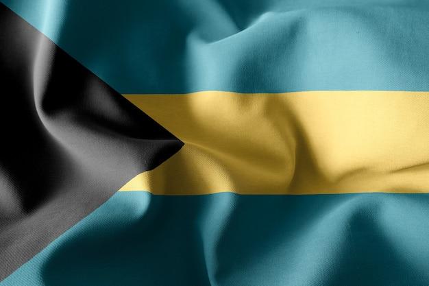 3d-rendering realistische wehende seidenflagge von bahamas