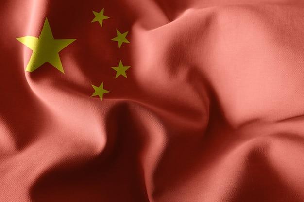 3d-rendering realistische wehende seidenflagge von china
