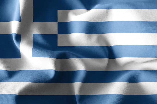 3d-rendering realistische wehende seidenflagge von griechenland