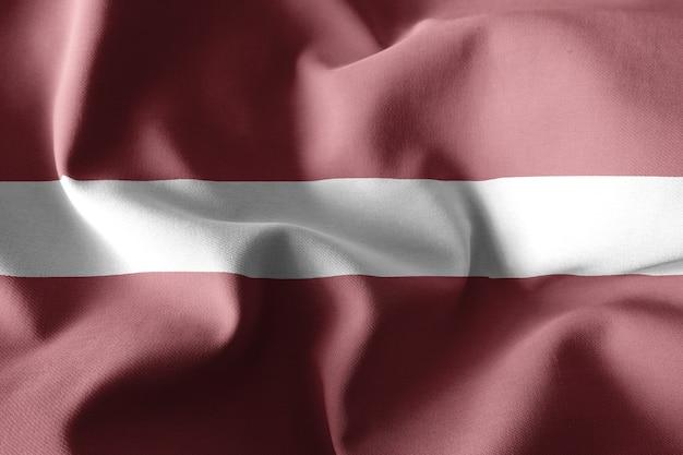 3d-rendering realistische wehende seidenflagge von lettland