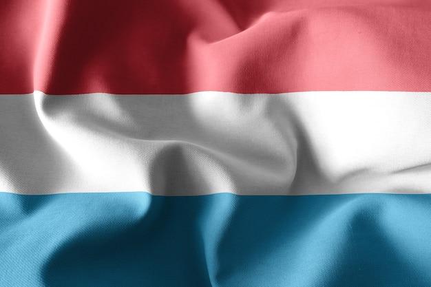 3d-rendering realistische wehende seidenflagge von luxemburg