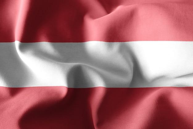 3d-rendering realistische wehende seidenflagge von österreich
