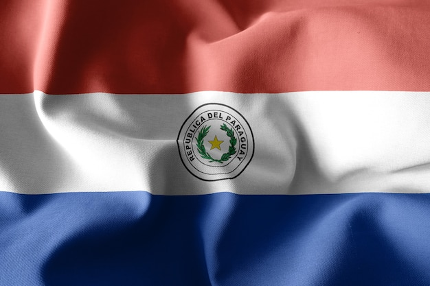 3d-rendering realistische wehende seidenflagge von paraguay