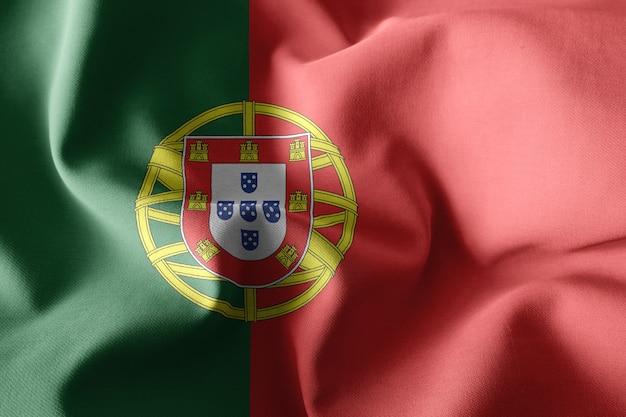 3d-rendering realistische wehende seidenflagge von portugal