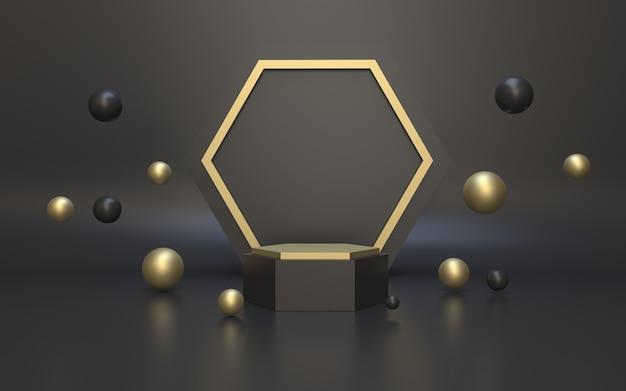 3d-rendering realistisches schwarzgold-podium für die produktanzeige