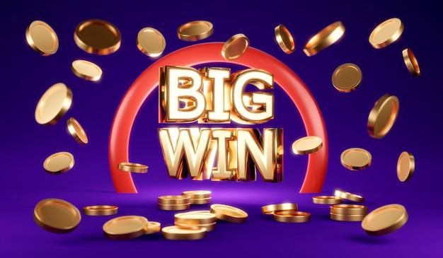3d-rendering-regenmünzen mit text big win und verschwommenem münzvordergrund auf violettem hintergrund