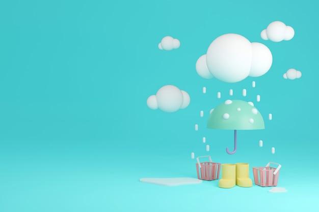 3d-rendering regenstiefel mit regenschirm und körben im regen auf hintergrund mit platz für text