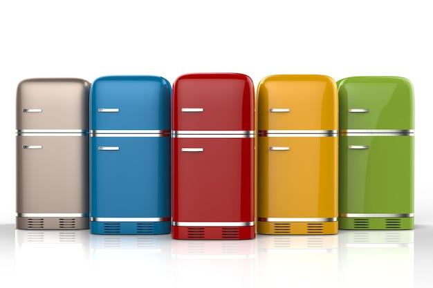 3d-rendering retro-design kühlschränke in folge