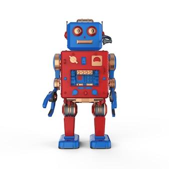 3d-rendering roboter blechspielzeug mit headset auf weißem hintergrund
