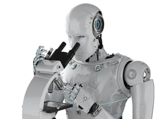 3d-rendering-roboter, der am mikroskop arbeitet, isoliert auf weiß