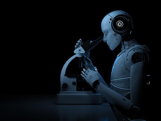 3d-rendering-roboter, der am mikroskop auf schwarzem hintergrund arbeitet