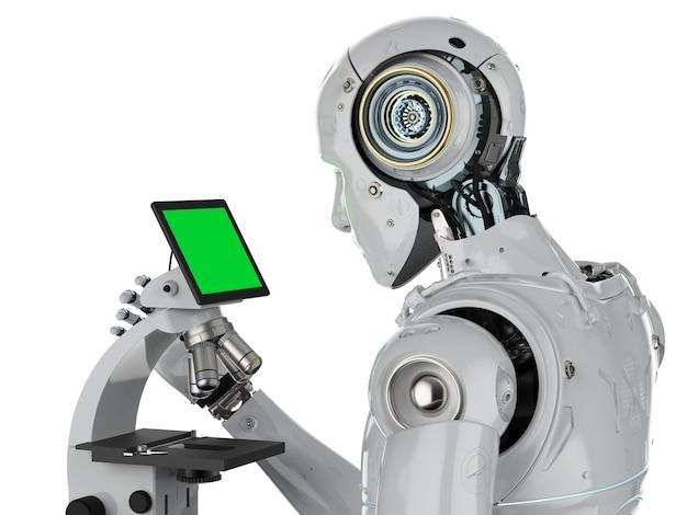 3d-rendering-roboter, der am mikroskop mit monitoranzeige arbeitet