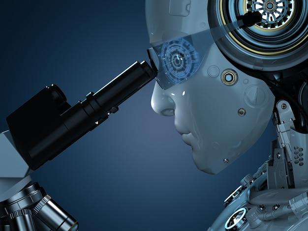 3d-rendering-roboter, der im dunklen labor am mikroskop arbeitet