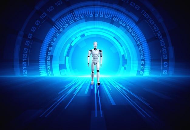 3d-rendering roboter humanoid in der science-fiction-fantasiewelt