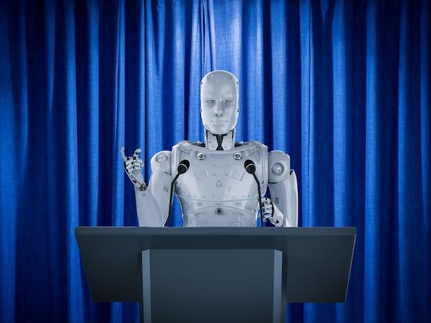 3d-rendering-roboter-redner, der auf dem podium spricht