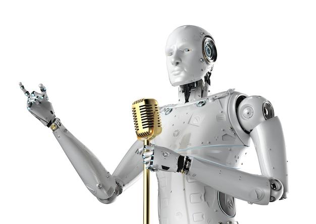 3d-rendering-roboter-redner, der mit mikrofon spricht