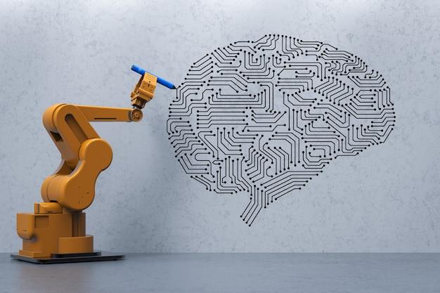 3d-rendering roboterarm schreiben ai-gehirn