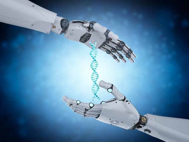 3d-rendering roboterhand mit dna-helix
