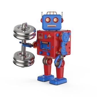 3d-rendering roboterhand mit metallischer hantel auf weißem hintergrund