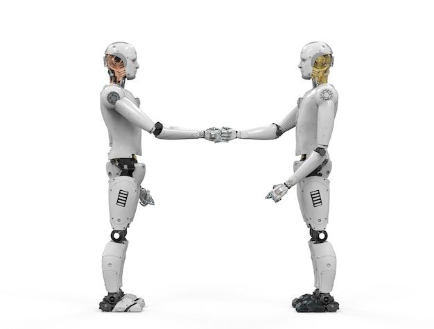 3d-rendering roboterhand zitternd auf weißem hintergrund