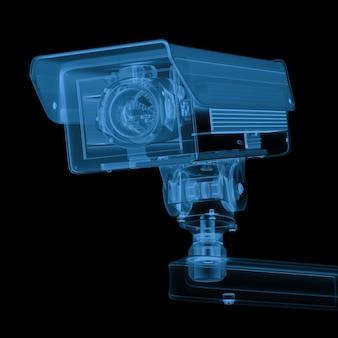 3d-rendering-röntgen-überwachungskamera oder cctv-kamera isoliert auf schwarz