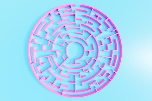 3d-rendering. rosa kreisförmiges labyrinth in der draufsicht auf blauem hintergrund.