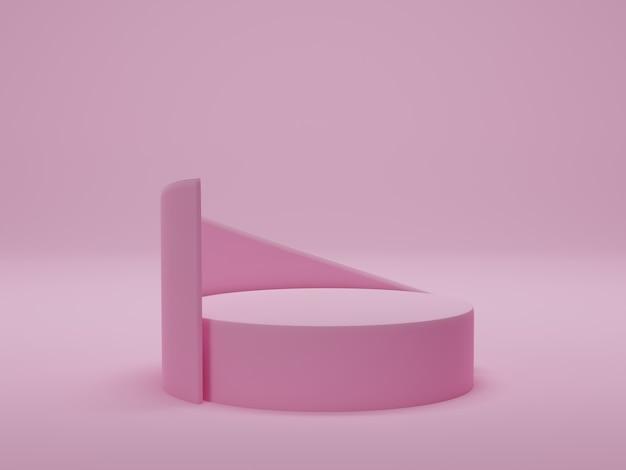 3d-rendering. rosa podest auf rosa hintergrund. abstrakte minimale szene mit geometrischen formen. mock-up für show-kosmetikprodukt-display, podium, bühnenpodest.