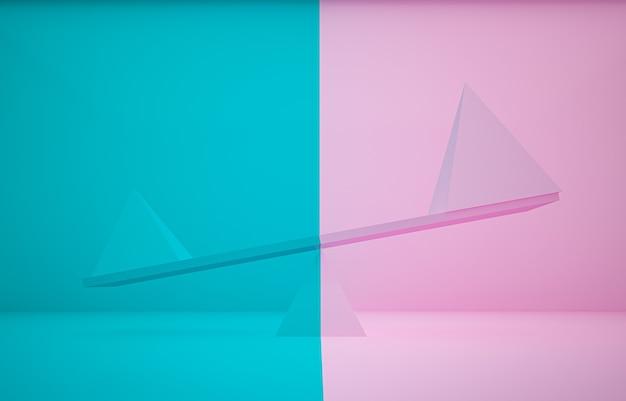 3d-rendering rosa und blaue pyramide unterschiedlicher größe auf planke und unterschiedlichem farbhintergrund