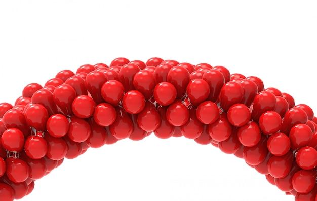 3d-rendering. rote ballone kurven gatter mit dem ausschnittspfad, der auf weiß getrennt wird.