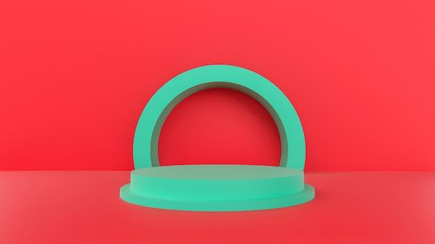 3d-rendering, rote farbe mit einem minimalen abstrakten konzept.