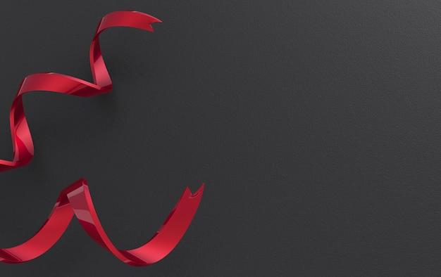 3d-rendering. rote lockenbänder auf schwarzem papierwandhintergrund.
