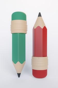 3d-rendering, roter und grüner bleistiftkarikatur